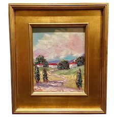 """""""Abstract Trees on the Water Landscape"""", Original Oil Painting by artist Sarah Kadlic, Gilt Leaf Frame 13x15"""""""