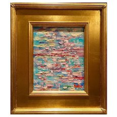 """""""Abstract Impasto of Color"""", Original Oil Painting by artist Sarah Kadlic, 14x16"""" with Gilt Frame"""