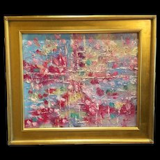 """Abstract Expressionist Inspiration"", Original Oil Painting by artist Sarah Kadlic, 24x20"" Gilt Framed"