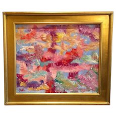 """""""Abstract Expressionist: Connections"""", Original Oil Painting by artist Sarah Kadlic, 24x20"""" with Gilt Wood Frame"""