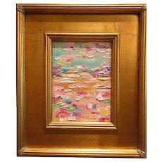 """Abstract Impasto of Color"", Original Oil Painting by artist Sarah Kadlic, 13x15"" Gilt Wood Frame"