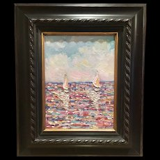 """French Sailboat Seascape Abstract"", Original Oil Painting by Artist Sarah Kadlic, 12x9 Dark Wood Frame"