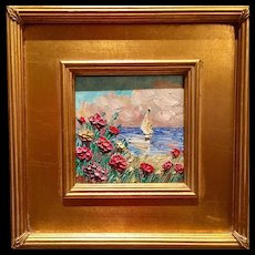 """French Wild Flowers Seascape Abstract"", Original Oil Painting on Tile by artist Sarah Kadlic, 10.5"""