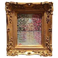 """""""Abstract Trees on the Water Landscape"""", Original Oil Painting by artist Sarah Kadlic, 13x15"""" Gilt Leaf Frame"""