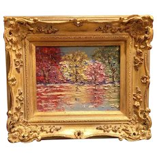 """""""Abstract Tree Reflections"""", Original Oil Painting by artist Sarah Kadlic, 13x15"""" Gilt French Carved Wood Frame"""