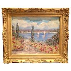 """Abstract Seascape Impressions"", Original Oil Painting by artist Sarah Kadlic, 16x20"" Gilt Wood Frame"