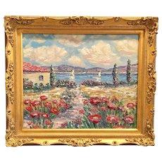 """Path to Villa Seascape"", Original Oil Painting by artist Sarah Kadlic, 24x20"" Gilt Leaf Wood Frame"