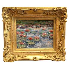 """""""Lilly Pond Flowers"""", Original Oil Painting by artist Sarah Kadlic, 8x10"""" Gilt Wood Carved French Frame"""