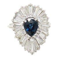 Stunning GIA Natural 4.1 ct Sapphire G-H/VS Diamond Ballerina Cocktail Ring