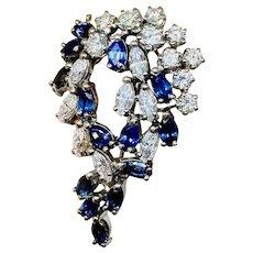 Stunning Art Deco 4.50ct Sapphire Marquise Diamond 18K Brooch Pendant Necklace
