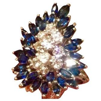 Stunning 1950s G/VS1 2.48 Sapphire Diamond Statement Cluster Spray Cocktail Ring