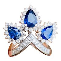 Striking 14k Gold Vintage Retro Blue Sapphire Pear Diamond Halo Baguette Ring