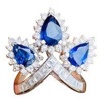 Striking 14k Gold Vintage Retro Blue Sapphire Pear Diamond Halo Baguette Ring