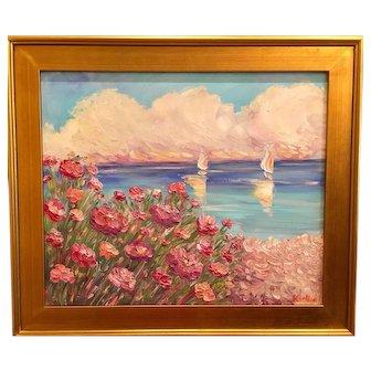 """Wildflowers Seascape"", Original Oil Painting by artist Sarah Kadlic,24""x20"" Gilt Leaf Wood Frame"