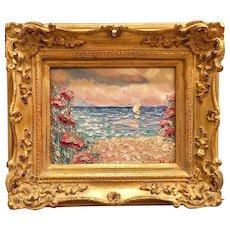 """Summer Sailboat on the Water"", Original Oil Painting by artist Sarah Kadlic, 8x10"" Gilt Leaf Wood Frame"