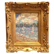 """Abstract Seascape with Sailboats"", Original Oil Painting by artist Sarah Kadlic, 8x10"" Gilt French Frame"