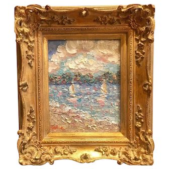 """""""Abstract Seascape with Sailboats"""", Original Oil Painting by artist Sarah Kadlic, 8x10"""" Gilt French Frame"""