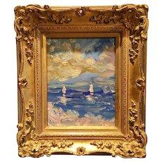 """Abstract Seascape Impasto"", Original Oil Painting by artist Sarah Kadlic 8x10 French Gilt Leaf Wood Frame"