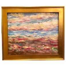"""Abstract Impasto Sunset & Seascape"", Original Oil Painting by artist Sarah Kadlic, 24x20"" Gilt Leaf Frame"