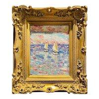 """Abstract Seascape Sailboat Impasto"", Original Oil Painting by artist Sarah Kadlic, Gilt Leaf Wood Frame 15"""