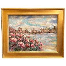"""Abstract Impasto Seascape"", Original Oil Painting by artist Sarah Kadlic, 24x18"" plus Gilt Wood Frame"