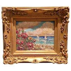 """Abstract Seascape Beach & Sailboat"", Original Oil Painting by artist Sarah Kadlic."