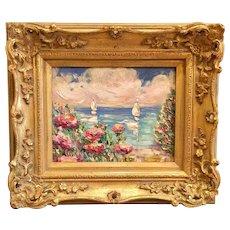 "Impasto Original Oil Painting by artist Sarah Kadlic ""Abstract Seascape View II"""