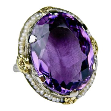 Antique Art Deco 1930s Large 14k Gold 18ct Amethyst & Seed Pearl Filigree Ring Size 6 3/4