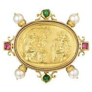 "Stunning 18K Gold Seidengang Pearl Gemstone Brooch Pin Pendant 2"""