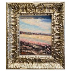 """Abstract Impasto Landscape in Silver"", Original Oil Painting by artist Sarah Kadlic, 11x14"" Silver Gilt Leaf Wood Frame"