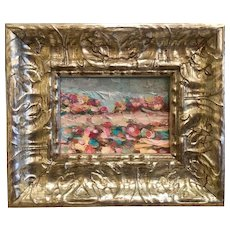 """Abstract Landscape Impasto"", Original Oil Painting by artist Sarah Kadlic, 6x8"" Silver Leaf Gilt Frame"