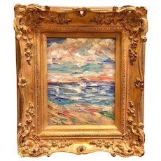 """Abstract Impasto Beach Reflections"", Original Oil Painting by artist Sarah Kadlic, 8x10"" Gold Gilt Leaf Frame"