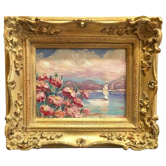 """Abstract Seascape Pink Floral"", Original Oil Painting by artist Sarah Kadlic, 8x10"" Gilt Leaf Frame"