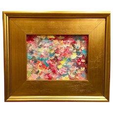 "Abstract ""Fireworks"", Original Oil Painting by artist Sarah Kadlic, 6x8"" with Gilt Leaf Frame"