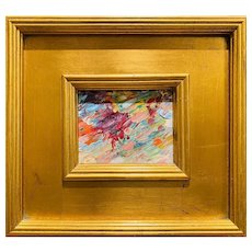 """Abstract Impasto Color"", Original Oil Painting by artist Sarah Kadlic, 10x11"" Gilt Leaf Wood Frame"