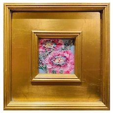 """Abstract Impasto Floral"", Original Oil Painting by artist Sarah Kadlic, Gilt Gold Wood Frame 11""x10"