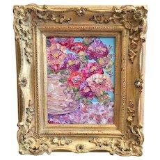 """Modern Vase of Flowers Abstract"", Original Oil Painting by artist Sarah Kadlic, 8x10"" Gilt Leaf Frame"