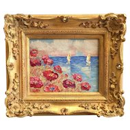 """Summer Poppies Seascape View"", Original Oil Painting by artist Sarah Kadlic, 8x10"" Gilt Leaf Wood Frame"