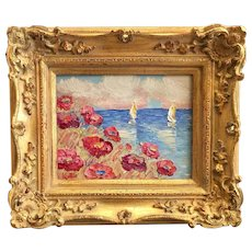 """Summer Poppies Seascape View"", Original Oil Painting by artist Sarah Kadlic, 8x10"" Gilt Leaf Wood Frame"