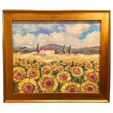 """Impressionist Sunflowers"", Original Oil Painting by artist Sarah Kadlic, 24x20"" with Gilt Leaf Frame"