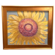 """Abstract Open Faced Sunflower"", Original Oil Painting by artist Sarah Kadlic, 24x20"" Gilt Wood Frame"