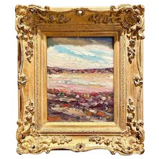 """Abstract Sunny Impasto Landscape II"", Original Oil Painting by artist Sarah Kadlic, 13x15"" Gilt Leaf French Frame"
