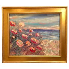 """Impressionist Impasto Sun Setting on the Poppies - Seascape"", Original Oil Painting by artist Sarah Kadlic."