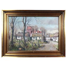 Findlay Galleries Chicago Label -Collectible Original Dutch Oil Painting by Well Listed Danish Artist Theodor Ulrichsen (1905-1970)