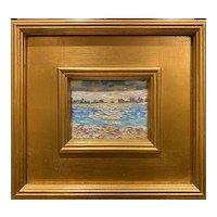 """""""Abstract Beach Seascape """", Original Oil Painting by artist Sarah Kadlic, 10x11"""" Gilt Wood Framed"""