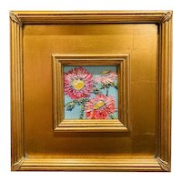 """Abstract Impasto Florals"", Original Oil Painting by artist Sarah Kadlic, 10"" Gilt Leaf Wood Frame"