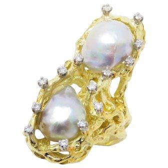 Huge 1960s Estate Free Form 14k Gold Tahitian Pearl Diamond Cocktail Ring