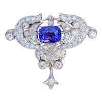 Stunning Vintage Art Deco 18k Gold 5ct Tanzanite Diamond Pin Brooch