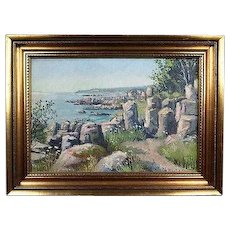 Wonderful Collectible Original Dutch Oil Seascape Painting by Well Listed Danish Artist Theodor Ulrichsen (1905-1970) with Gilt Frame