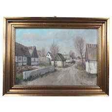 Wonderful Collectible Original Dutch Oil Painting Village by Well Listed Danish Artist Theodor Ulrichsen (1905-1970)
